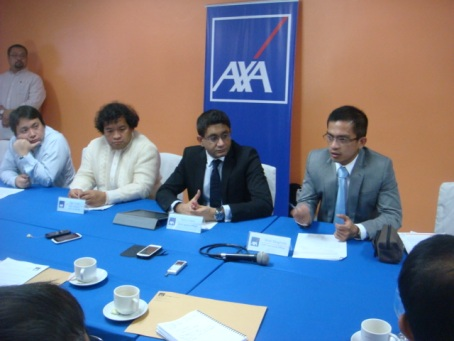Top brass of AXA Philippines, fastest growing life insurance in the country, explains to reporters the advantages to the company which opened a branch in Dagupan City. The officials said their presence is strategic as family income and saving of households in Dagupan Pangasinan province have been remarkably growing lately. AXA is an affiliate of the Metro Bank Group. MORTZ C. ORTIGOZA