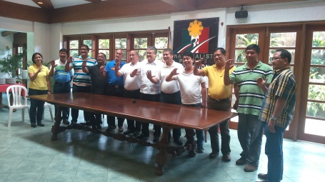 "MARK C AND DISTRICT I LEADERS.  Former Pangasinan fifth district Rep. Mark Cojuangco and first district political leaders form the letter ""C"" with their hands after the leaders declared their support to Cojuangco on his gubernatorial bid. From left are Mayors Gwen Yamamoto (Bani), Carlitos Reyes (Mabini), Aldrin Cerdan (Anda), Jose Pajeta (Agno), Noli Celeste (Bolinao), Provincial Board Member Anthony Sison, Cojuangco, Arrthur Celeste (Alaminos City), Provincial Board Member Napoleon Fontelera, Noel Nacar (Dasol),  Infanta Vice Mayor Richard Martinez, and Alberto Guiang Jr. (Burgos). Unable to attend were first district Rep. Jesus Celeste and Sual Mayor Roberto Arcinue, but who are said to also support ."