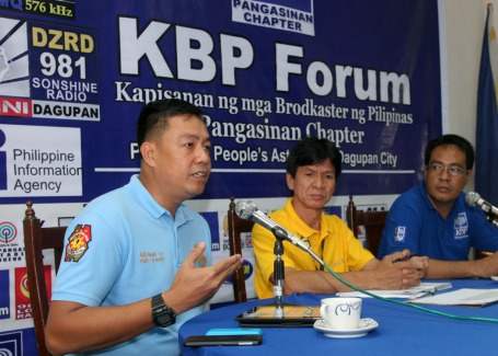 Police Supt.Christopher Abrahano, Dagupan City PNP chief, says he was hurt by insinuations that he had something to do with the attempt of the life of broadcaster Orly Navarro. He was a guest during  the regular forum of the Kapisanan ng mga Brodkaster ng Pilipinas(KBP) Pangasinan chapter last August 28 at the Philippine Information Agency(PIA) office in the city. Also in photo are Celso Salazar, forest management service chief of the provincial environment and natural resources office(PENRO), and Noel Sibayan, KBP Pangasinan chapter secretary.CESAR RAMIREZ
