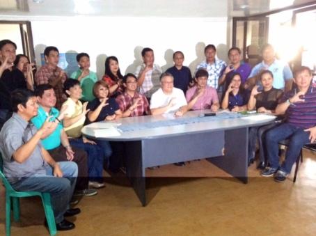 """C"" is for COJUANGCO- Leaders of District VI flash the ""C"" sign signifying their support to the gubernatorial bid of former 5th District Mark O. Cojuangco in 2016 elections. Seated, left to right: Umingan Mayor Eldred Tumbocon,San Manuel Mayor Jericho Perez, Asingan Mayor Heidee G. Chua, 6th District Rep. Marlyn Primicias-Agabas, Calasiao Mayor Mark Macanlalay (who is being eyed as Cojuangco's running mate), Cojuangco, Abono Partylist Rep. Conrad M. Estrella III, Rosales Mayor Susan Pagador- Casareno, San Nicolas Mayor Rebecca Saldivar and San Quintin Mayor Clark Tiu. Back row, left to right: Rosales Vice Mayor Harry Bernabe, Balungao Liga ng Barangay President Joselito Peralta,Sta. Maria Vice Mayor Conrado Ignacio, Natividad Vice Mayor April Supnet,Asingan Vice Mayor Carlos Lopez Jr., Tayug Mayor Tyrone Agabas, Sta. Maria Mayor Teodoro Ramos, Balungao Mayor Philipp G. Peralta and Natividad Mayor Rodrigo Rafael. VIRGIL MAGANES"