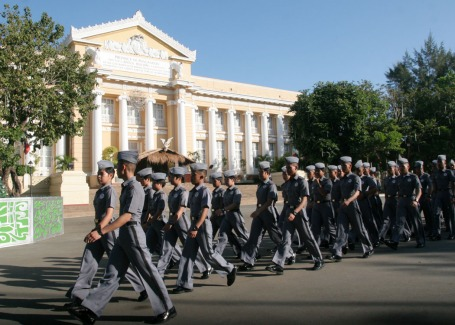 Close to 200 cadets of the Philippine Military Academy(PMA) belonging to the Salaknib Class of 2017 walk in front of the Capitol Building Lingayen during their visit to the province last November 24 as part of their interdisciplinary tour.CESAR RAMIREZ