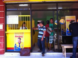 PCSO's Peryahan Games' betting kiosk in Binmaley, Pangasinan. The kiosk opened last January 24. Other towns that junked and replaced Meridian Jai Alai - played like jueteng - with Peryahan Games - are Malasiqui, San Jacinto, Mapandan, Laoac, and others.