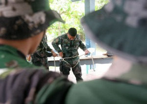 SWAT. Some members of the Pangasinan PNP's SWAT make some basic knot tying as part of their 14-day SWAT Refresher Training at the Pangasinan PNP provincial office in Lingayen.CESAR RAMIREZ