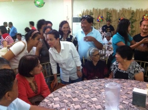 GRACE POE AND KIN. Soaring presidential hopeful  Senator Mary Grace Poe (white polo) exchanges pleasantries with the relatives of her late father, movie actor Fernando Poe Jr. at Kevin's Restaurant in San Carlos City. Poe's father traces his roots to Barangay Caoayan Kiling of the city. The senator was in this city and Dagupan City on invitation by Abono Party-list Chairman Rosendo So. So was the campaign manager in Pangasinan of the elder Poe in the 2004 election when he challenged then incumbent President Gloria M. Arroyo for the presidency. Fernando won by landslide  in that contest in San Carlos. MORTZ C. ORTIGOZA