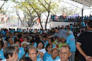 MEETING THE ELDERLY. Gubernatorial aspirant Mark Cojuangco introduces himself to the elderly residents of Alaminos City during the celebration of Elderly Week on the last week of October. LOEJAN ANUDON