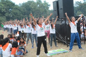 Girl Scouts from San Carlos City enjoy themselves during the opening of the four-day Division Camporal and Encampment.